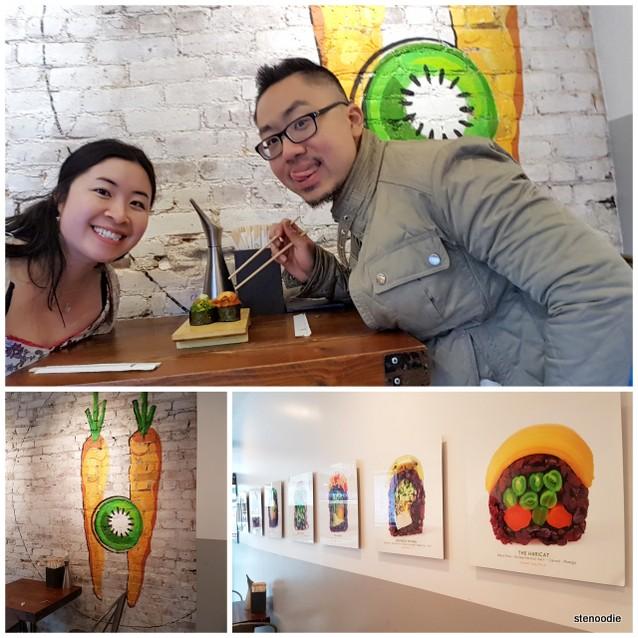 eating vegan sushi in New York