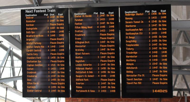 Salisbury station - next train to...