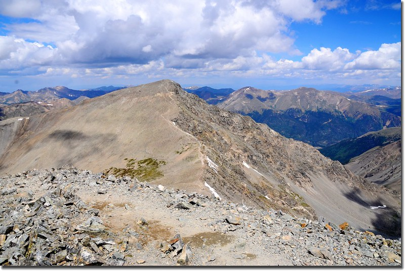 View to the North from Grays Peak's summit, Torreys Peak in the front