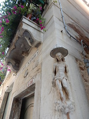 petunias and sullen Christ