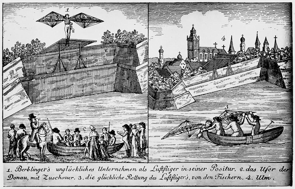 """Albrecht Ludwig Berblingerin, legendaarisen """"Ulmin räätälin"""", lentolaitteen kopio"""