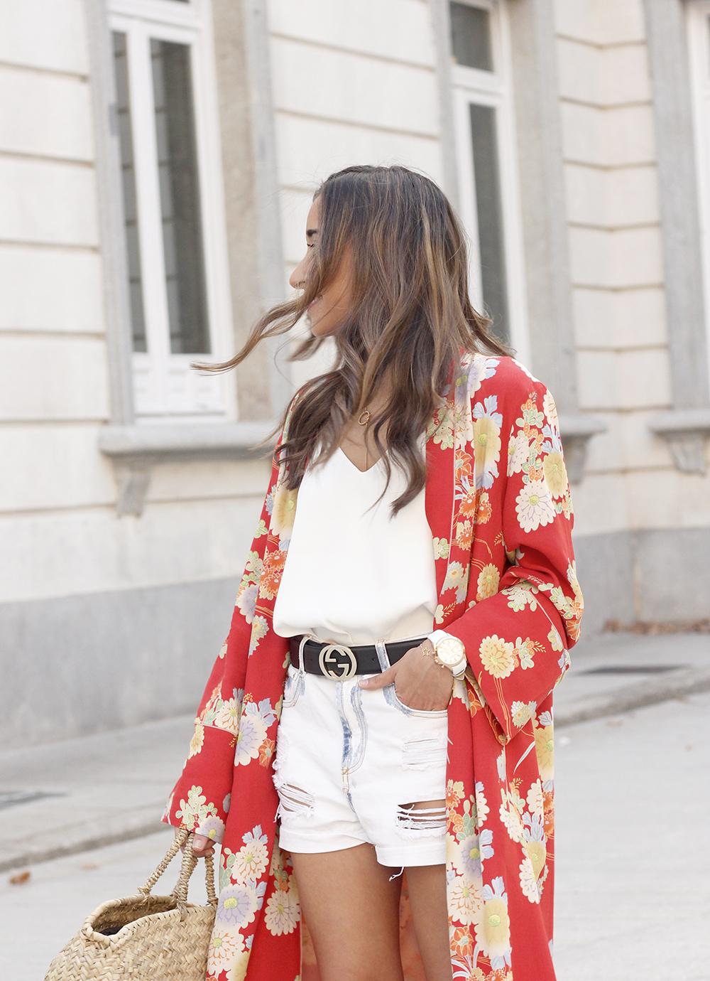 Flowered maxi kimono denim short heels summer girl style fashion13