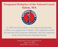 Designated Birthplace of the National Guard: Salem, MA