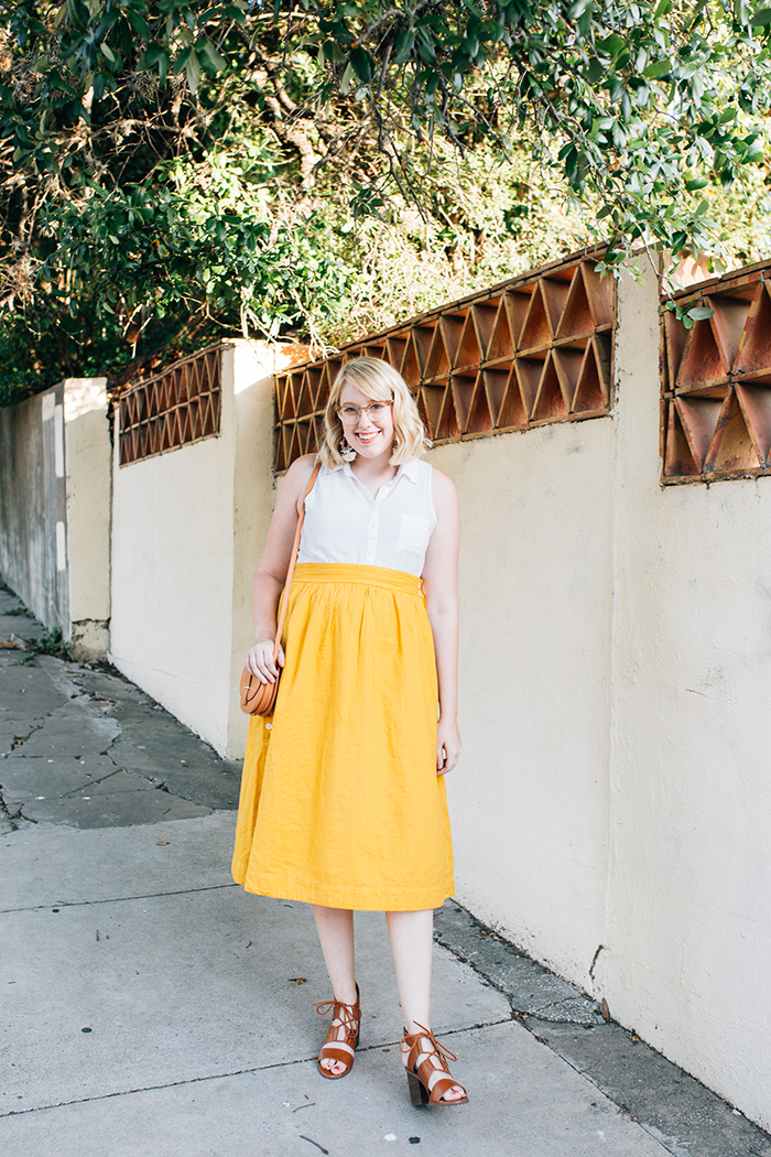 austin fashion blogger writes like a girl madewell yellow midi skirt1