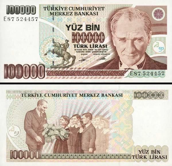 100 000 Lír Turecko L.1970(1984-97), P205b