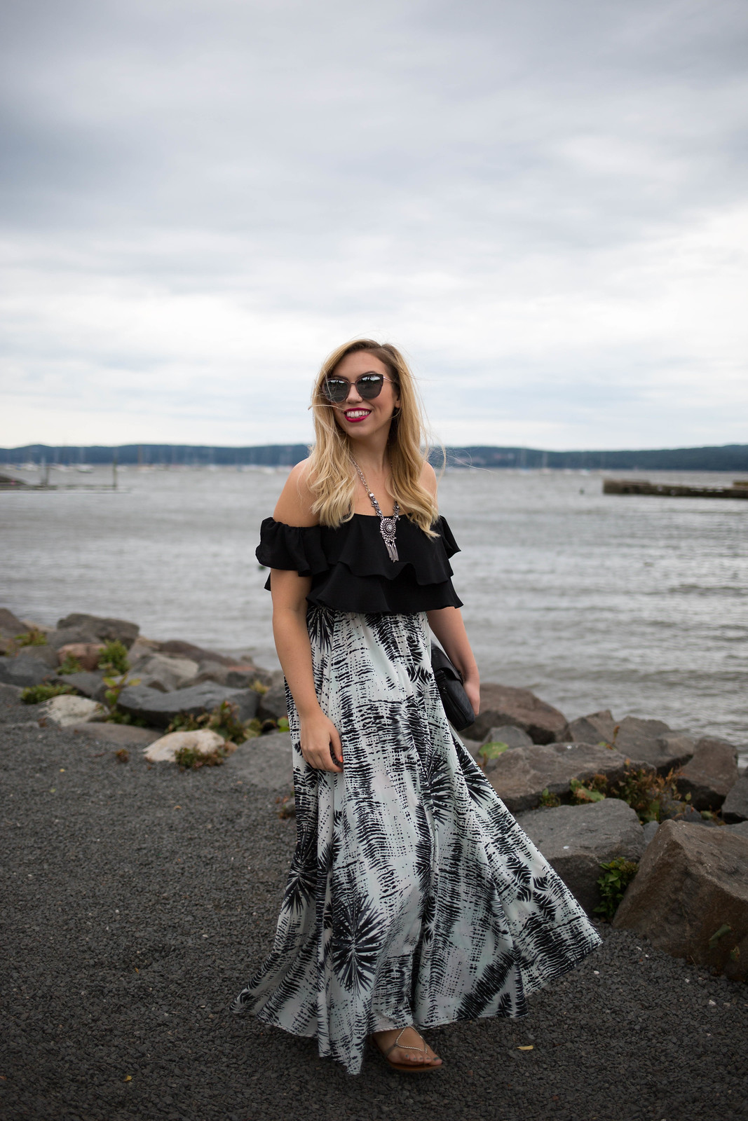 Black Off Shoulder Crop Top White Black Maxi Skirt Indian Summer Outfit Why Everyone Needs a Crop Top