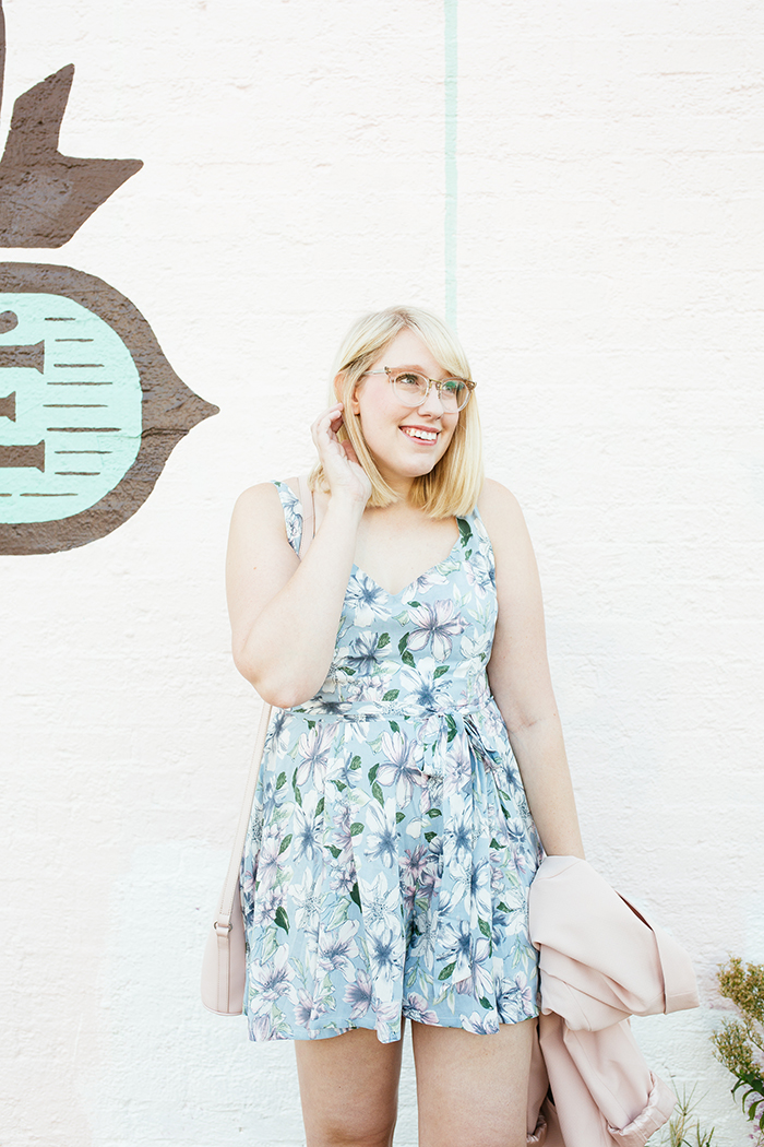 austin fashion blogger writes like a girl pastel floral romper blush blazer12