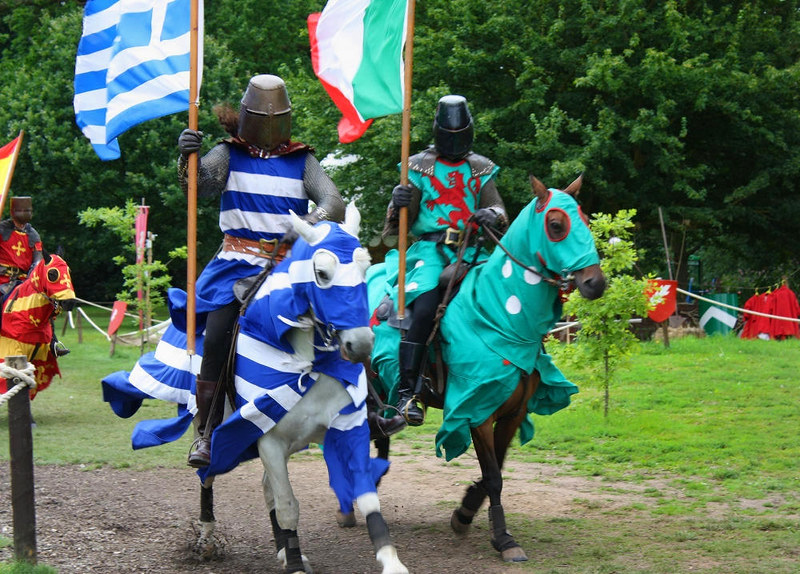 Jousting Knights at Warwick Castle. Credit Dark Dwarf, flickr