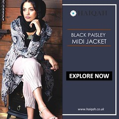 Shop Branded Black Paisley Midi Jacket Online From Haiqah