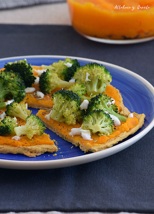 Socca - chickpea flatbread with pumpkin and broccoli