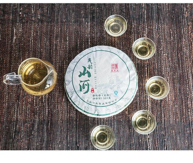 Free Shipping 2017 ChenSheng QiYunShanHe Beeng Cake Bing  357g YunNan MengHai Organic Pu'er Raw Tea Sheng Cha Weight Loss Slim Beauty