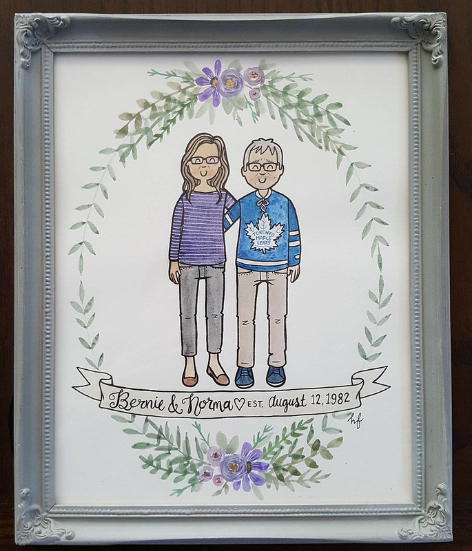 we gave our parents this portrait done by @lovelyworksbyheather for their anniversary this year. Heather's work is really incredible! #anniversarygift #lovelyworksbyheather