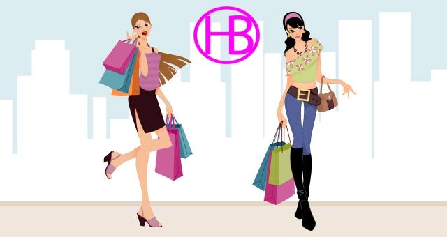 Vector hai cô gái shopping