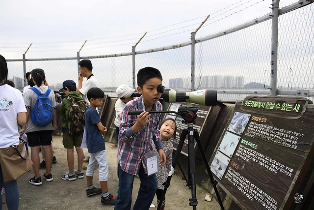 A middle school boy is observing shorebirds at Gojan. Photo by © Eugene Cheah/EAAFP