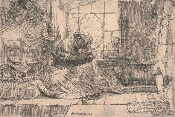 RembrandtVirginAndChildWithTheCatAndTheSnake1654Etching