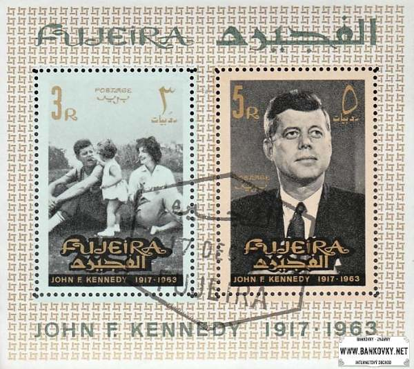 Známky Fujeira 1965 John F. Kennedy, razítkovaný hárček