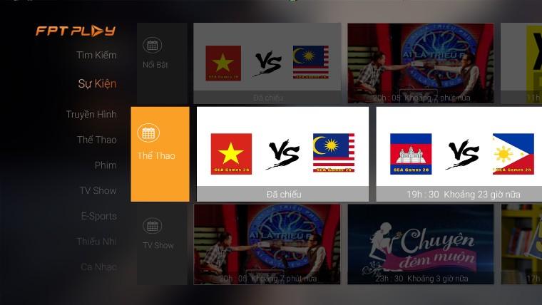 ứng dụng xem bóng đá trên smart Tivi