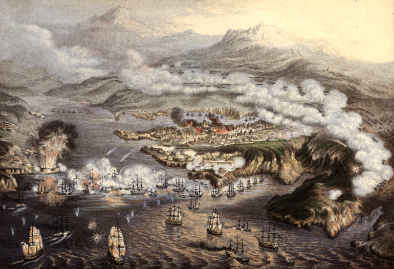 Siege of Sevastopol (1853-1854) by George Baxter, depicting the eleven-month siege of a Russian naval base at Sevastopol during the Crimean War