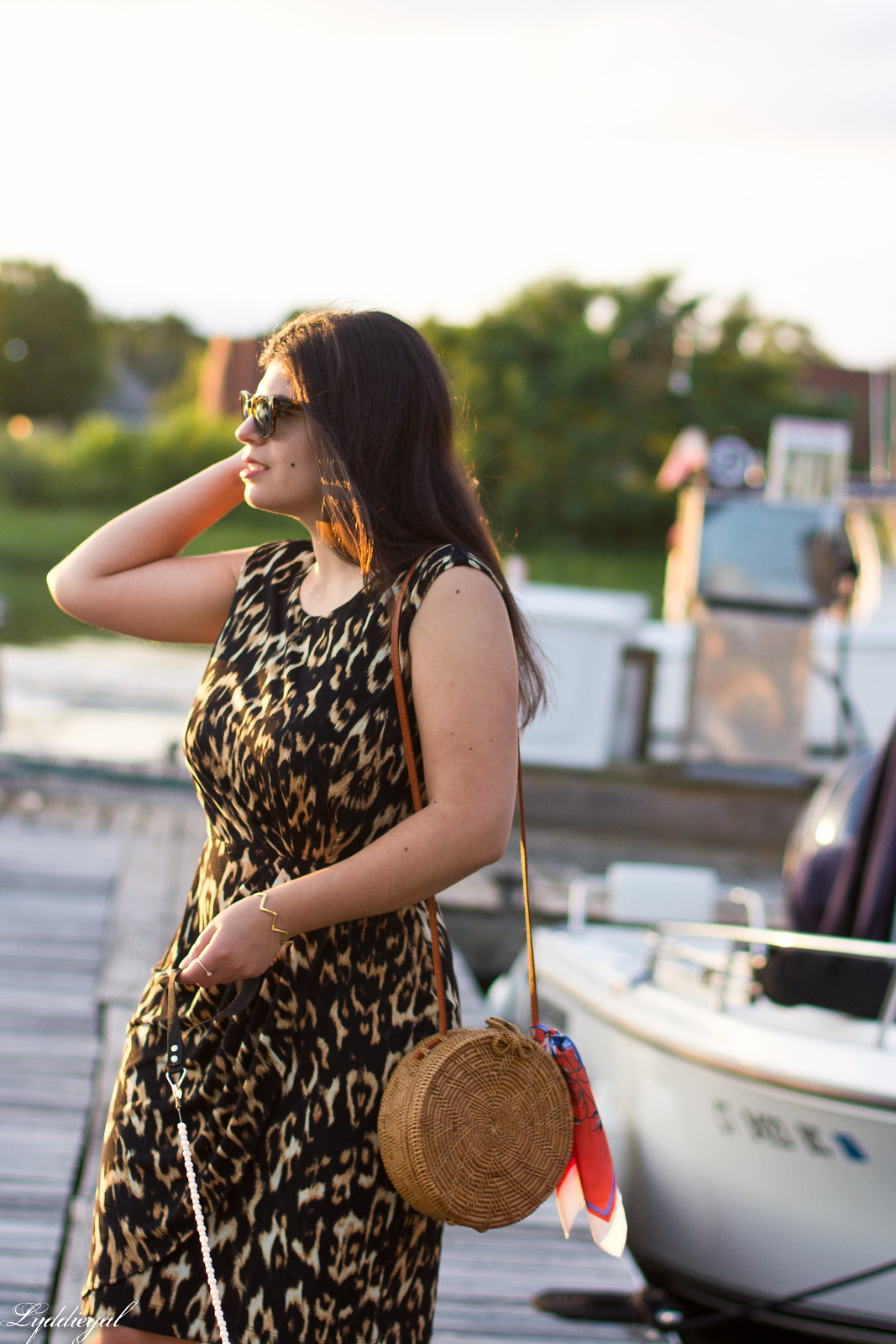 leopard sheath dress, round rattan bag, dog walking-8.jpg