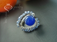 Ring shaped heart Blue Heart Mens Womens Gifts Mother Gift Girl
