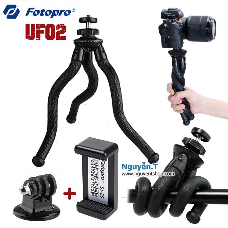 Chân xoắn bạch tuộc Fotopro UFO2 kèm kẹp điện thoại mount GoPro