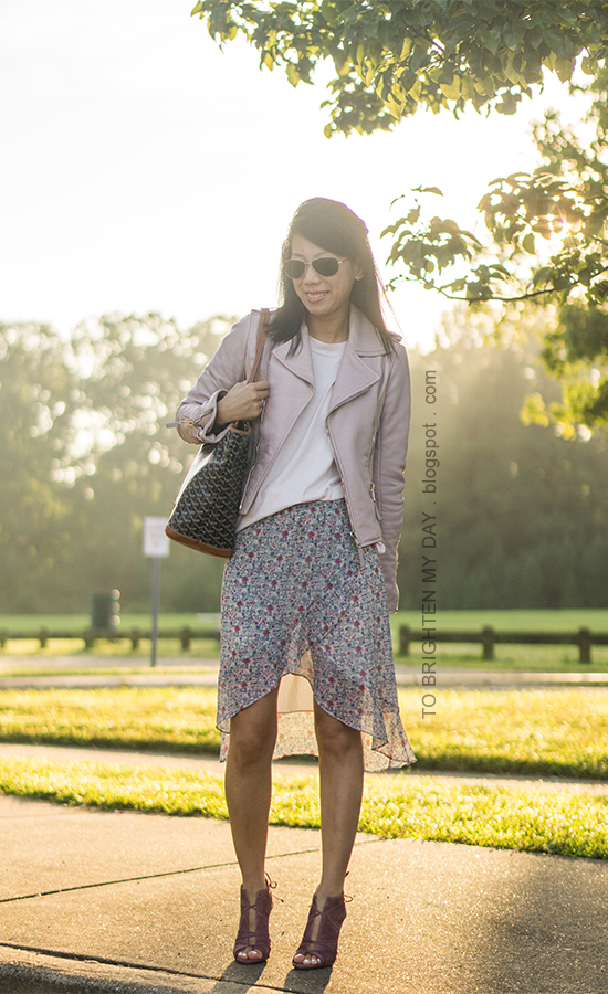 lilac leather jacket, light pink sweater, patterned tote, floral wrap midi skirt, rose lace up suede heels