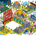 Music Lovers Unite. Delta Sky Magazine: Isometric Pixel Art Illustration by Rod Hunt