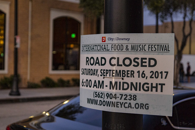 Downey International Food and Music Festival sign