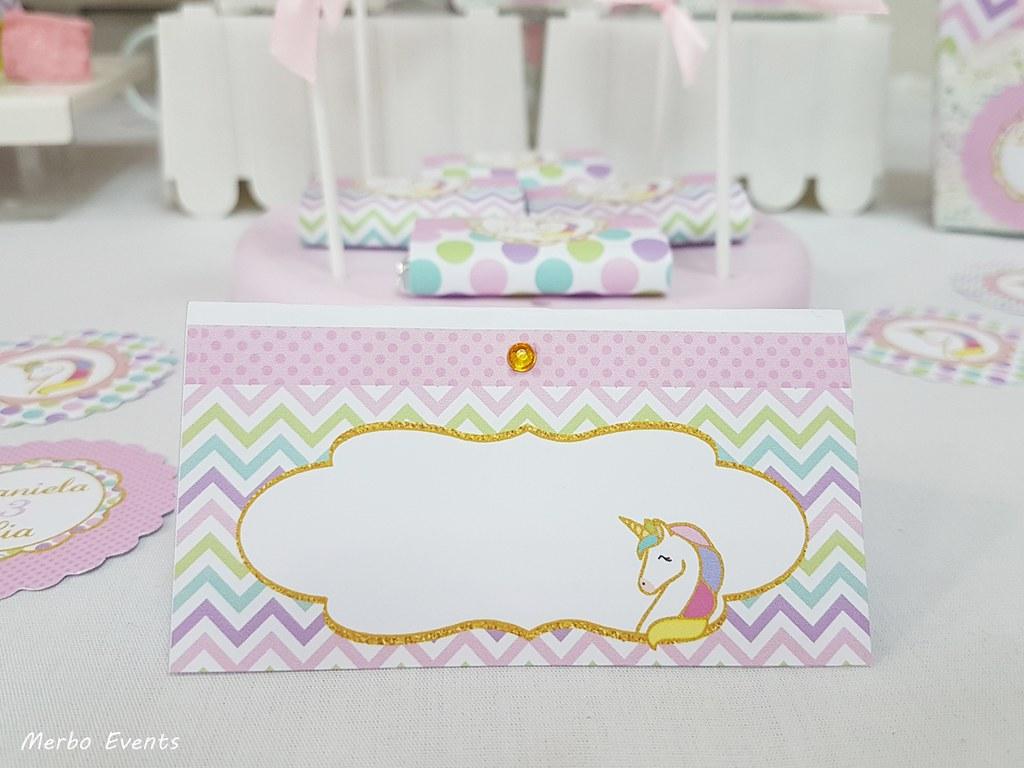 cartelitos buffet fiesta cumpleaños unicornio Merbo Events