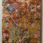 Patricia Turner; Mayhem in the Middle East; Dyed paper stitched over fabric, silk; 2014 -