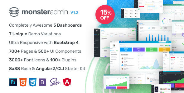 Monster v1.1 – Most Complete Bootstrap 4 Admin Template Angular 2/CLI Starter Kit