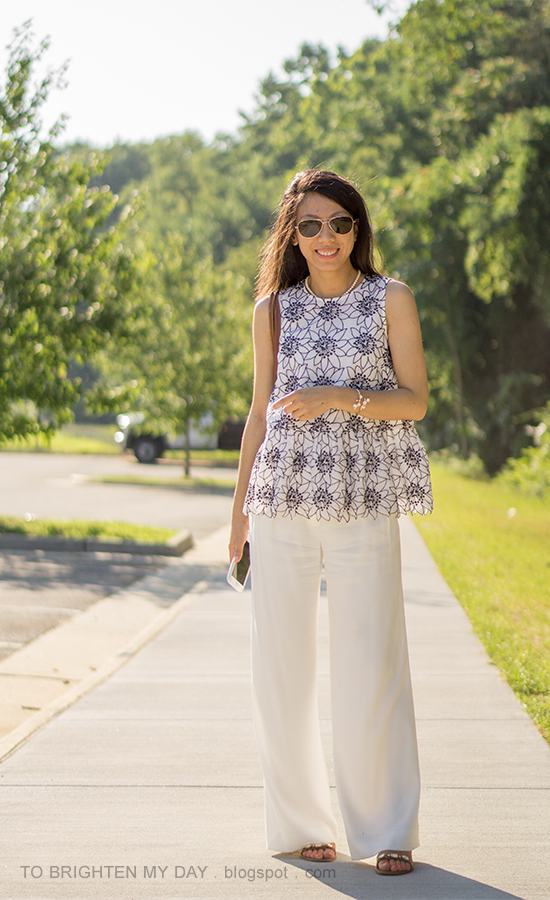 wildflower cuff, embroidered floral top, white wide-legged pants, jeweled sandals