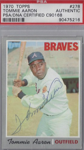 1970 Topps - Tommie Aaron #278 (Outfield) (b. 5 Aug 1939 - d. 16 Aug 1984 at age 45) (PSA Certified) - Autographed Baseball Card (Atlanta Braves)