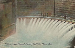 UP Sault Ste Marie SOO MI c.1906 Faith in the Gates at THE POE LOCK opened 1886 Dirt Street Horse and Buggy and early Automobile Era Photographer UNK1
