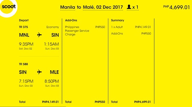 Manila to Maldives Promo December 2, 2017 Scoot