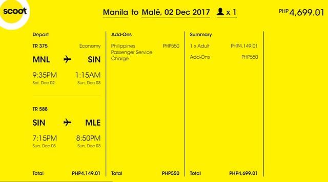 Manila to Maldives Promo December 2, 2017 Scoot