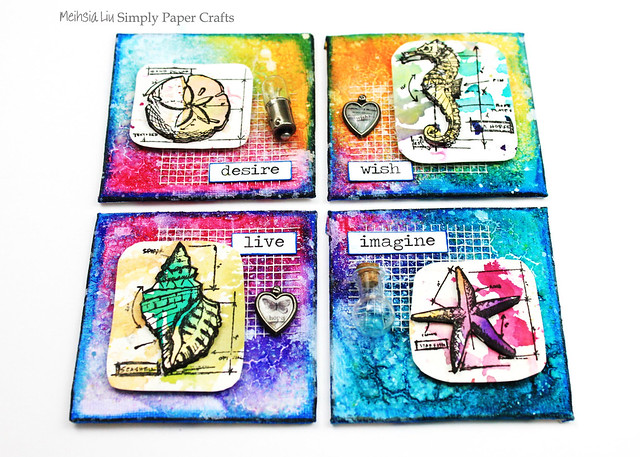 Meihsia Liu Simply Paper Crafts Mixed Media Mini Canvas Nautical Simon Says Stamp Tim Holtz 1