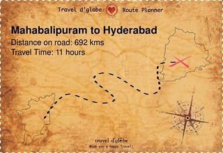 Map from Mahabalipuram to Hyderabad