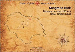Map from Kangra to Kufri