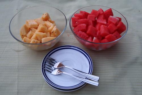 Ananas und Wassermelone als Nachtisch
