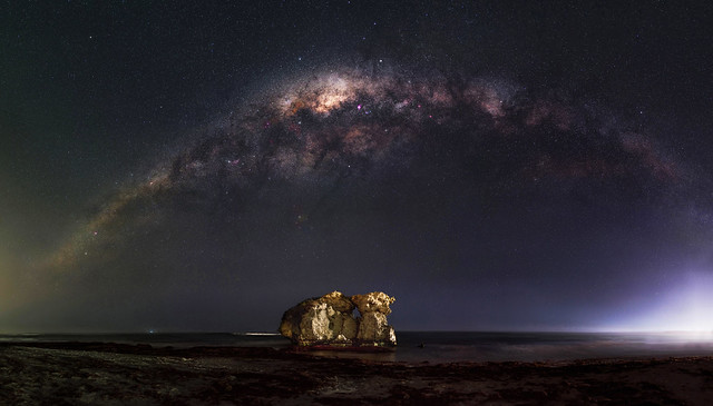 Milky Way Setting Over Two Rocks, Western Australia