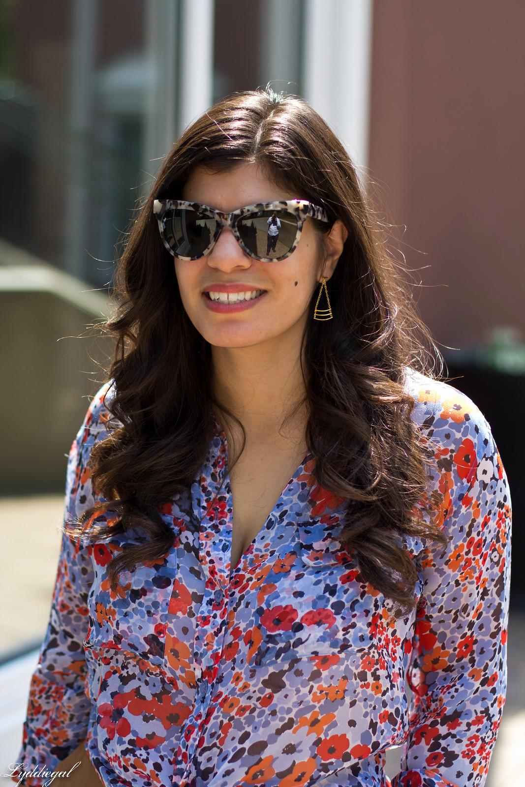 floral equipment blouse, suede culottes, round rattan bag-5