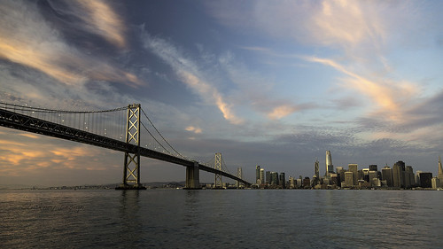 salesforce sunrise dawn boating sanfrancisco sanfranciscobay waterfront pink blue cityscape baybridge clouds share hughstickney stickneydesign williebrown ferrybuilding span bridge