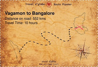 Map from Vagamon to Bangalore