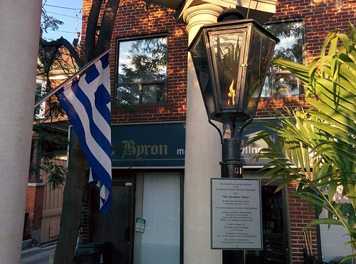The Marathon Flame #toronto #thedanforth #greektown #alexanderthegreat #alexanderthegreatparkette #marathonflame #flags #greece