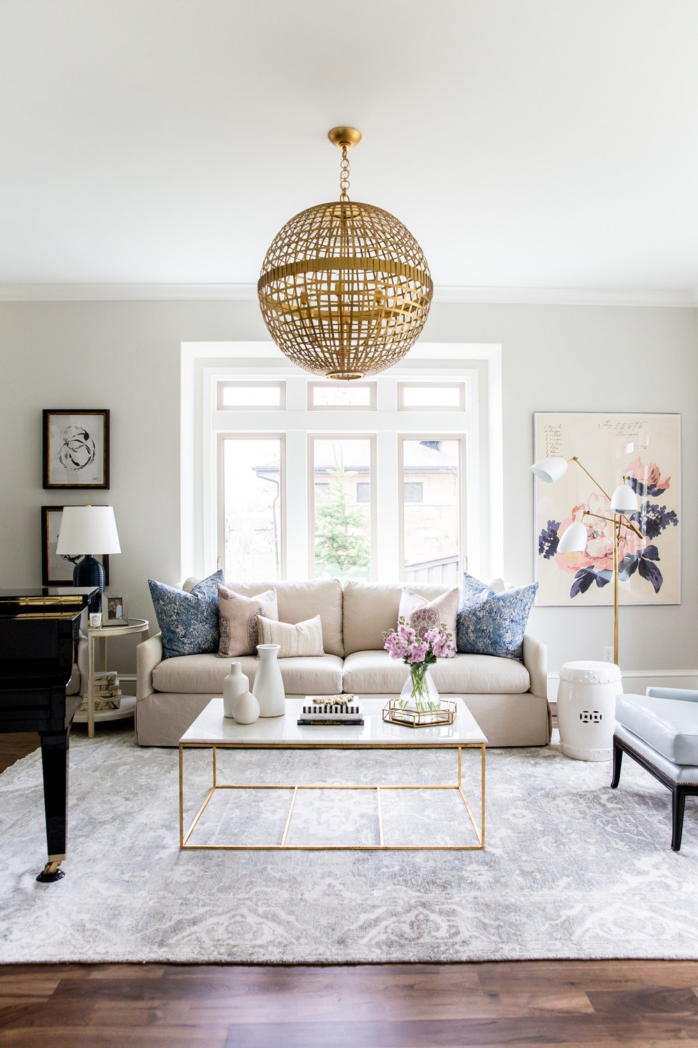 Navy Blush Gold Living Room