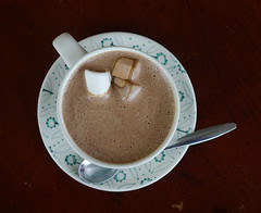 Cup of hot chocolate with marshmallows on top
