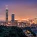 豹山日落時分 - Sunset and Taipei 101 by basaza
