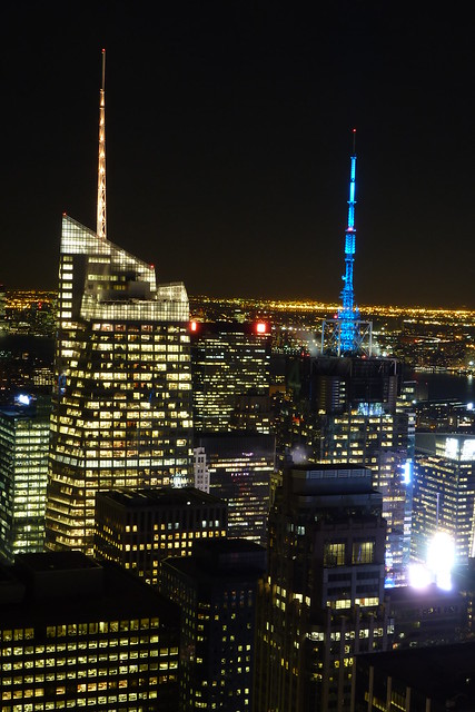 Bank of America Tower & Four Times Square as seen from Top of the Rock in Midtown Manhattan in New York City, NY