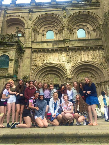 The St Louis Camino girls pictured outside the Santiago Cathedral.